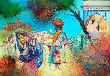 Holi Radha Krishna gopi gulal